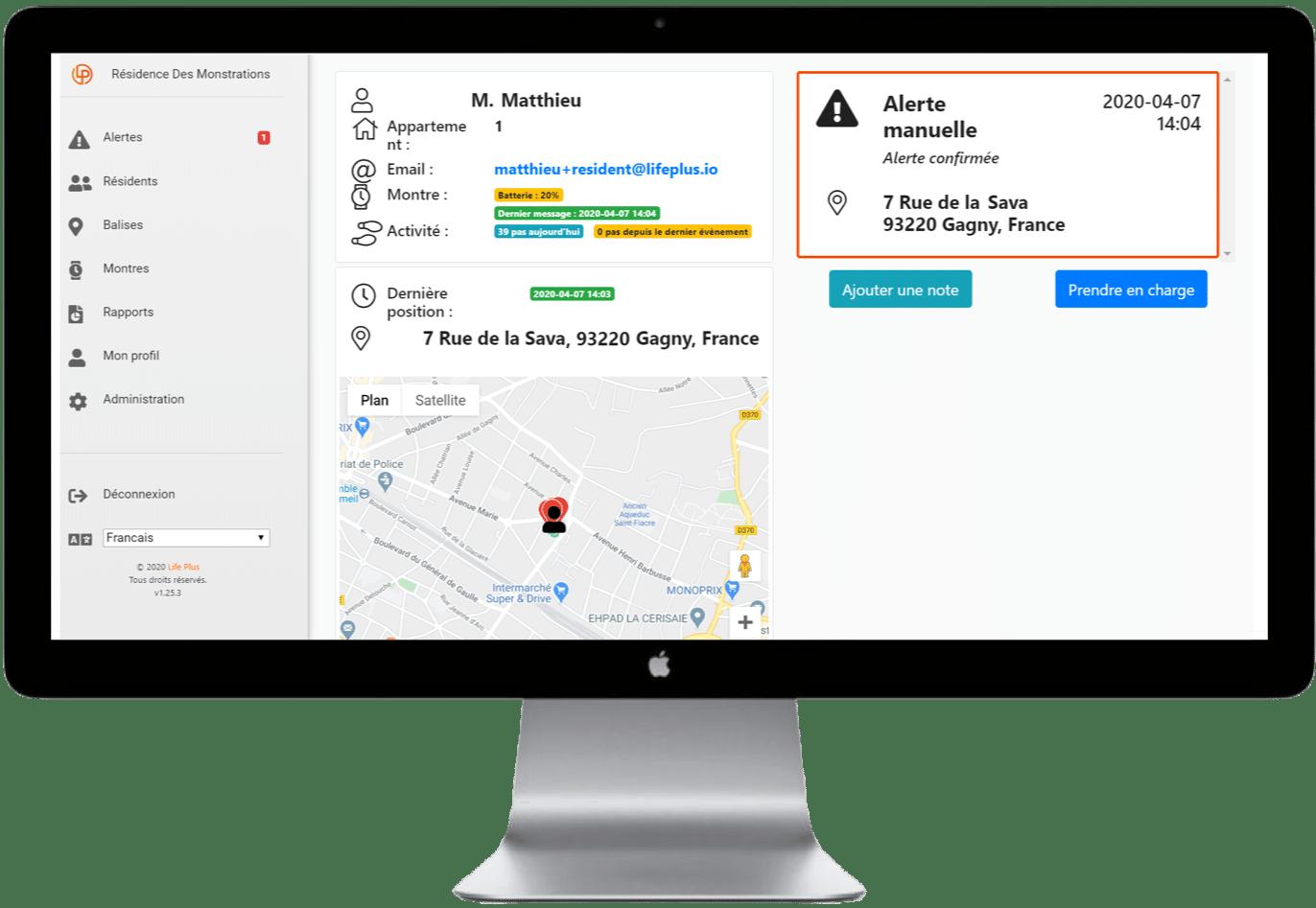 Localisation GPS, détection de sortie de zone et fugue de la solution d'assistance Dona Care